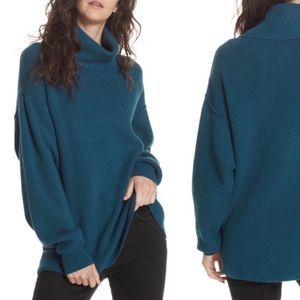 Free People Softly Structured Blue Tunic Sweater